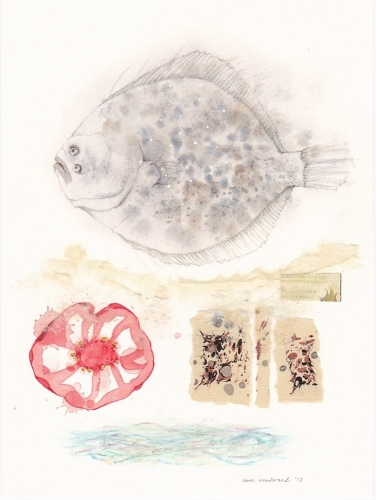Watercolor of a fish and slice of tomato, with abstract collage and oil pastel elements (large view)
