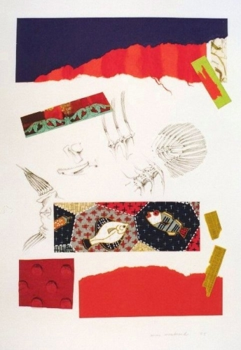 Drawing of fish bones combined with abstract paper collage which is mostly red in color (large view)