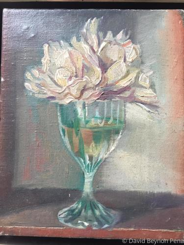 Hydrangea in wine glass by David Beynon Pena art represented by Alison BW Pena