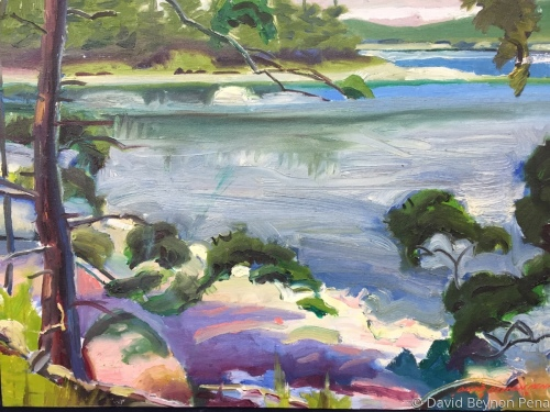 Abstract Impression of Lobsterman's Cove in Maine by David Beynon Pena art represented by Alison BW Pena