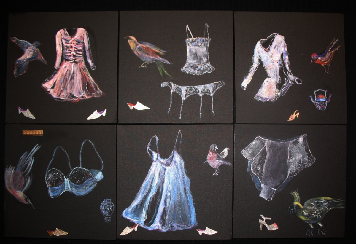 6 Paintings of female clothing, black background, dreamlike (large view)