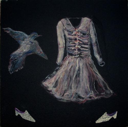 Paintings of female clothing, black background, dreamlike, animals, contemporary, nostalgic (large view)