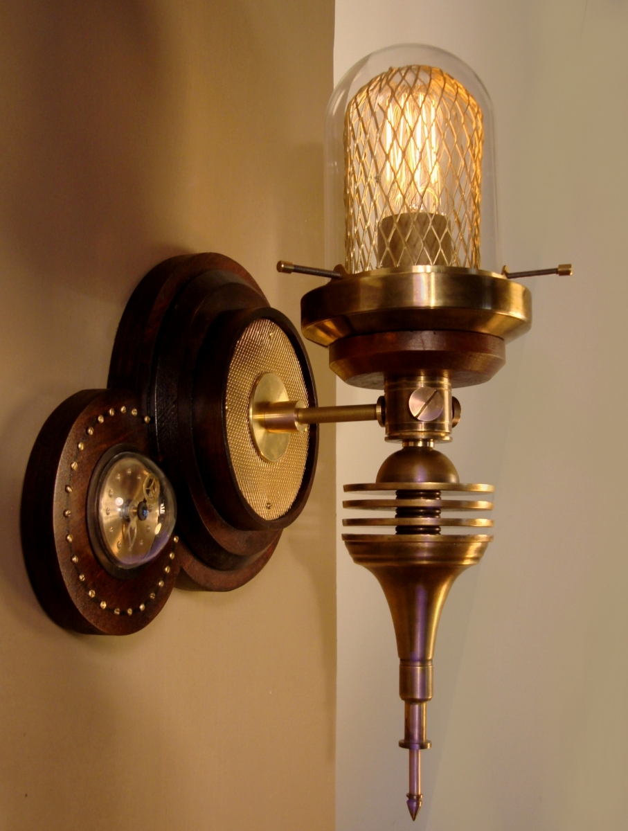 """Parrish Carriage III"" Steampunk Wall Lantern   (large view)"