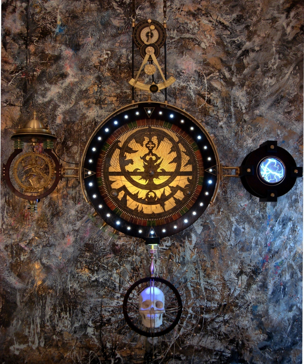 """Shiva Mandala""  Illuminated Steampunk Sculpture (large view)"