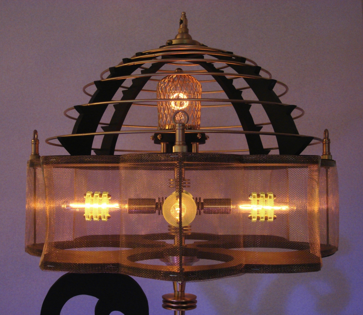 """Thin White Duke""  Steampunk Sculptural Lamp (large view)"
