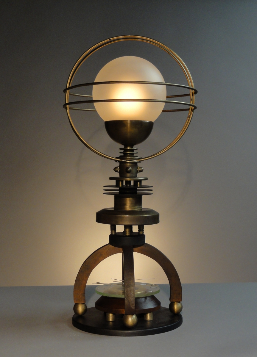 """Petite Cosmo""  Astronomical Steampunk Table Lamp (large view)"