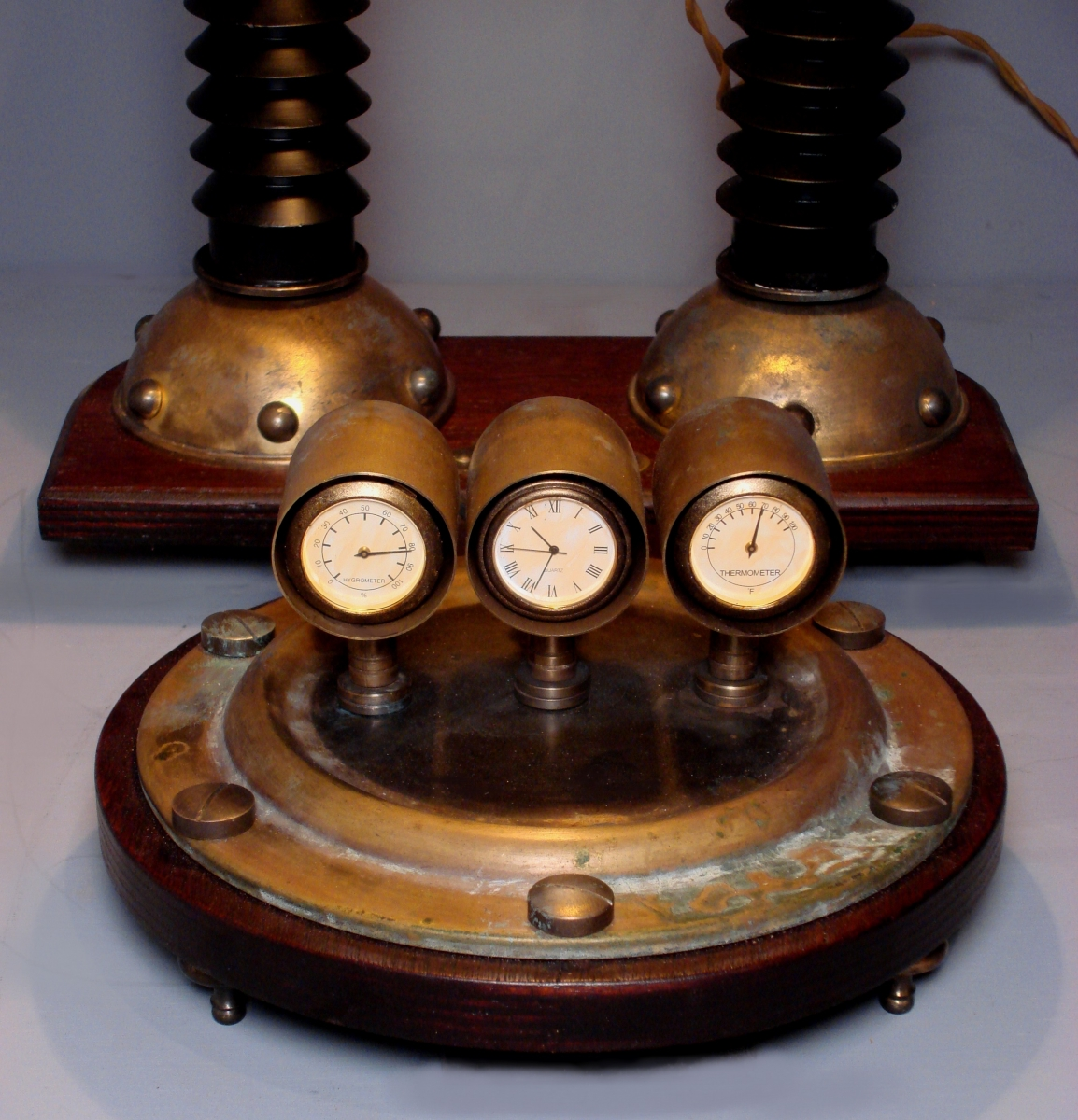 Steampunk Weather Station. Unique Steampunk Lamp (large view)