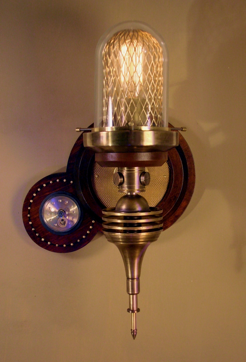 """Parrish Carriage III"" Steampunk Wall Lamp (large view)"