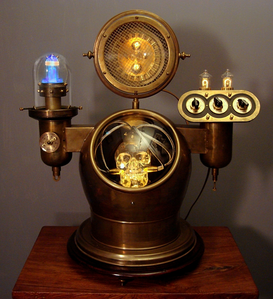 """Electric Skull"" Steampunk Sculptural Device (large view)"