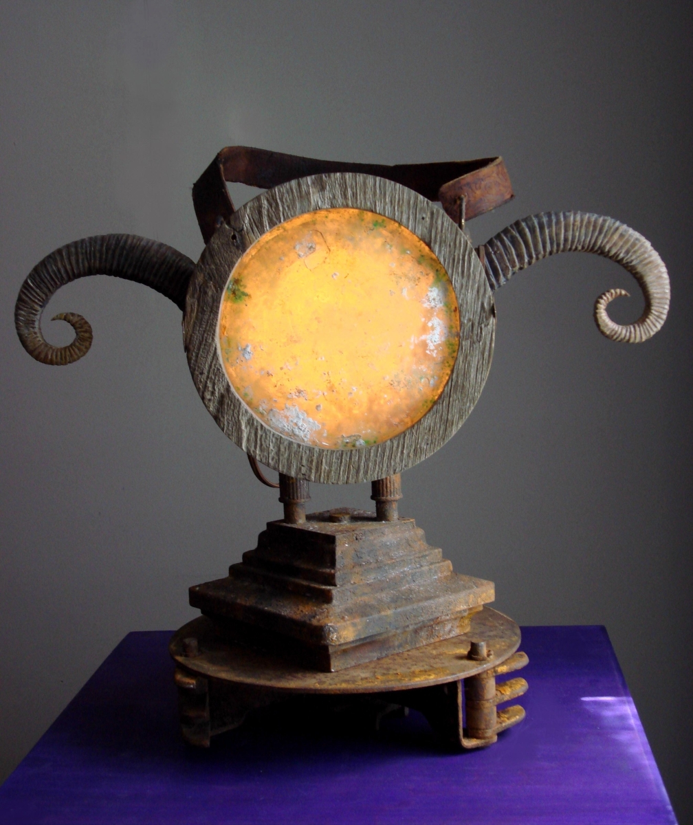 'Ancient' Ram Horn Lantern. Steampunk Lamp (large view)