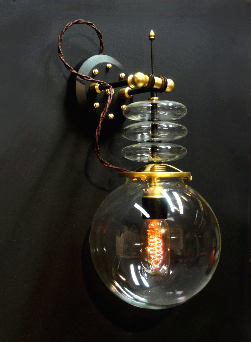 """Tesla""  Steampunk Wall Lamp (large view)"