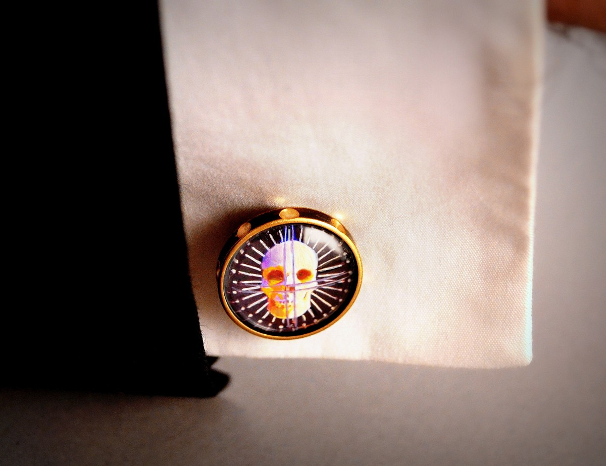 """Craniometer"" Cufflinks. Hand Painted by Art Donovan (large view)"