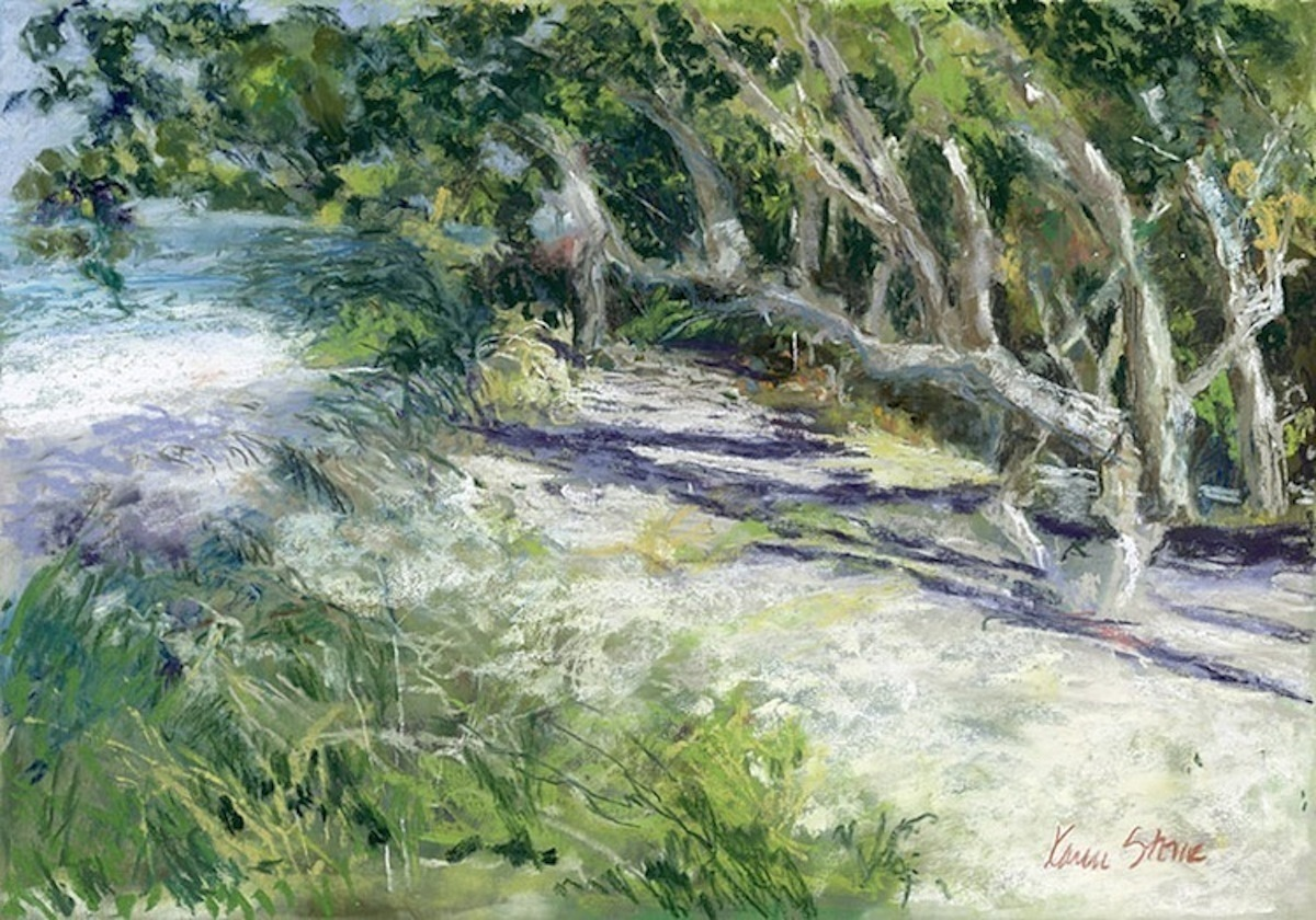 Karen Stone's pastel painting of  a sunny beach access showing natural vegetation including sea grape trees, sand and water. (large view)