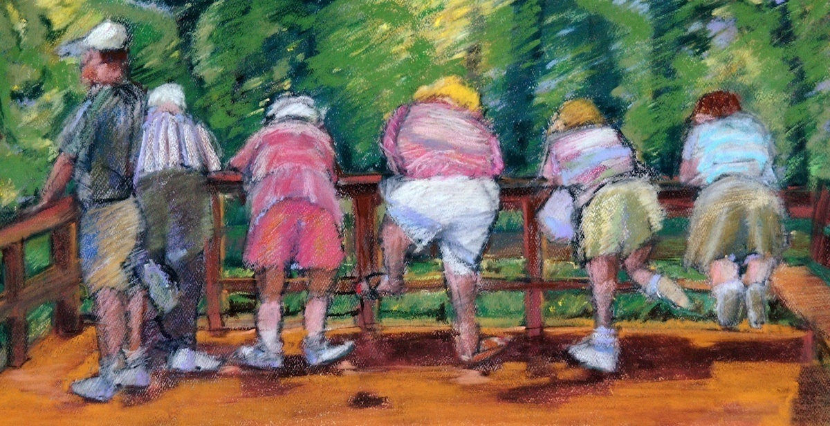 """We Looking at them, Looking at Us"" an early Pastel painting by Karen Stone of Naples Florida. 