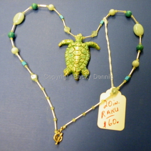 Raku fired Turtle Necklace