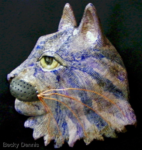 Purple Cat Mask in Raku