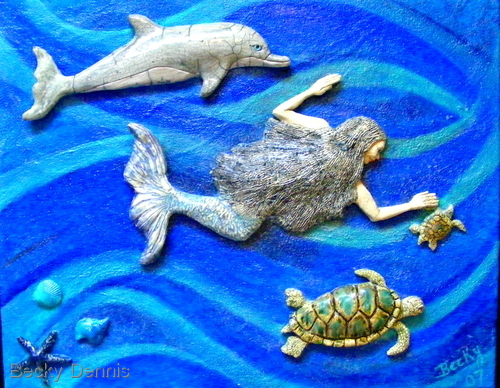 Mermaid swims with Turtles and Dolphin