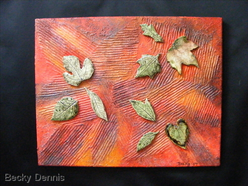 Leaves float on canvas