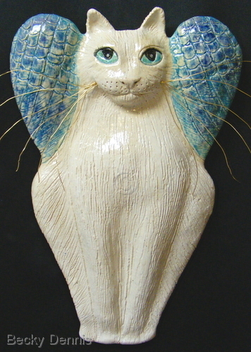 White Cat Angel with Whiskers.