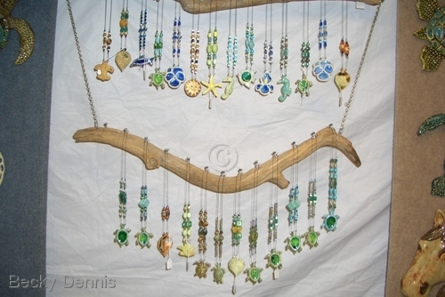 Hand created Necklaces completed and hanging up...