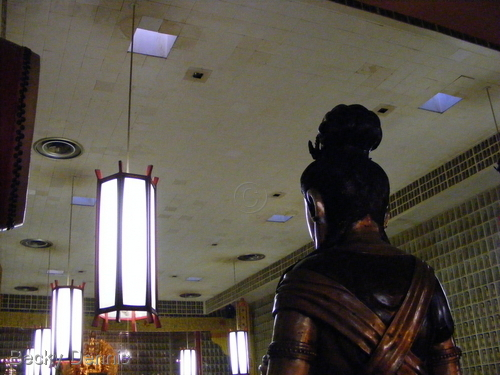Skylights visible in the temple of Ten Thousand Buddhas in CA