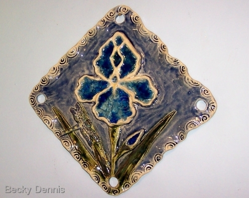 IRIS in clay with melted stained glass