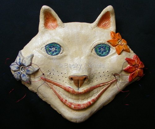 "White ""wired"" cheshire cat mask"