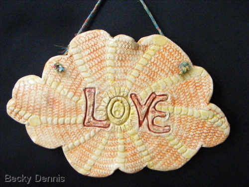 LOVE wallhanging in clay