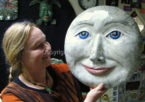 Becky Dennis with Full Moon raku sculpture