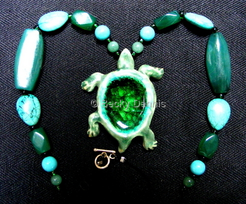 Turtle Necklace with glass 16 inches