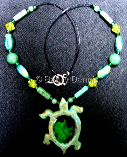 Turtle necklace with glass and gemstones