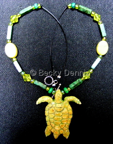 Bright Green Sea Turtle necklace