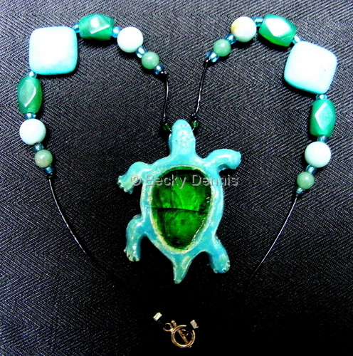 Turtle with glass and semi-precious gemstones
