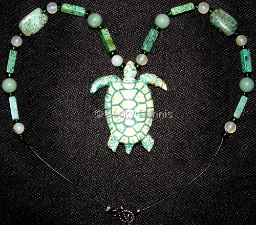 Light Green Sea Turtle with african turquoise 17 inches