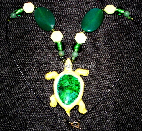 Bright Green Turtle with Glass 19 inches