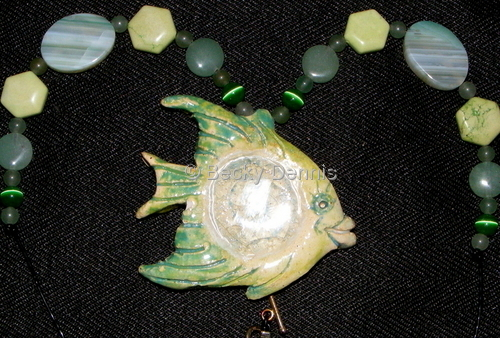 Fish Necklace with Glass 18 in.