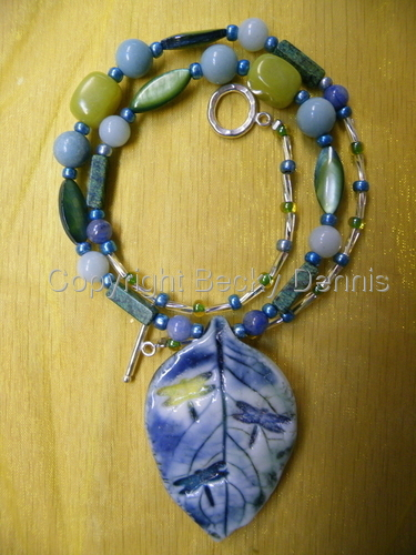 Porcelain Leaf Necklace with Dancing Dragonflies and Gemstones