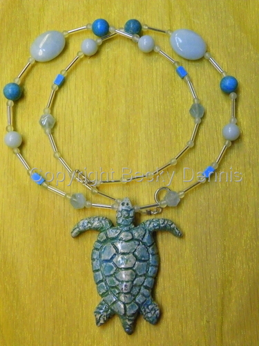 Raku Turtle Necklace with gemstones