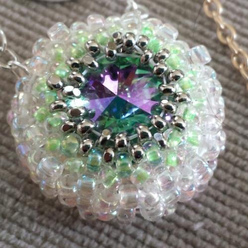 Bead Bezeled Swarovski Crystal Pendant Necklace