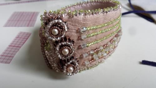 Pretty In Pink Leather Cuff