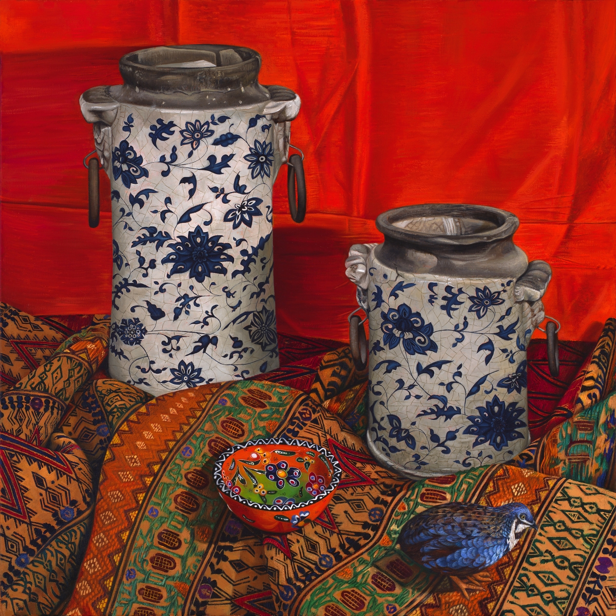 still life with chinese urns and indian fabric (large view)