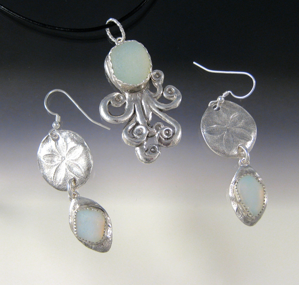 Opalescent Octopus and Sand Dollar drop Earrings (large view)