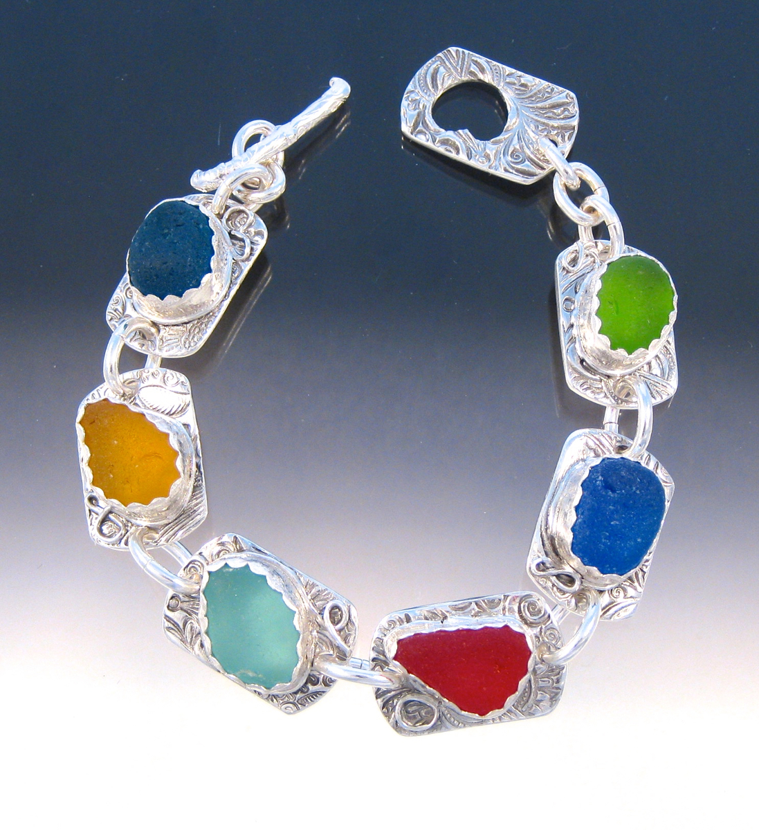 B188 - Stunning 6 color sea glass bracelet (large view)