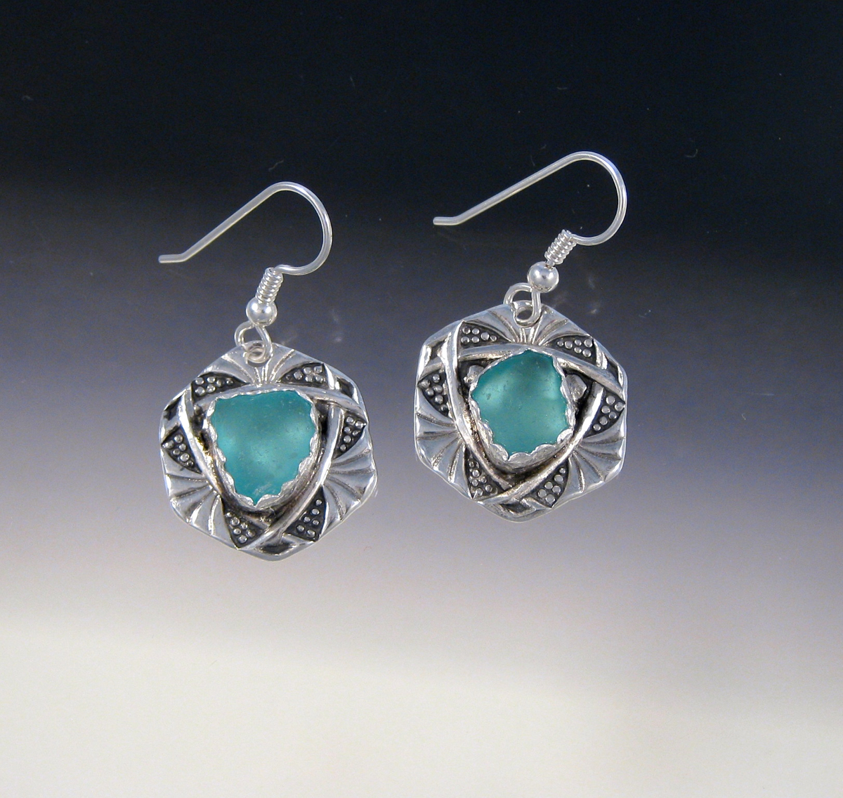 E969 - Aqua in vintage button earrings (large view)