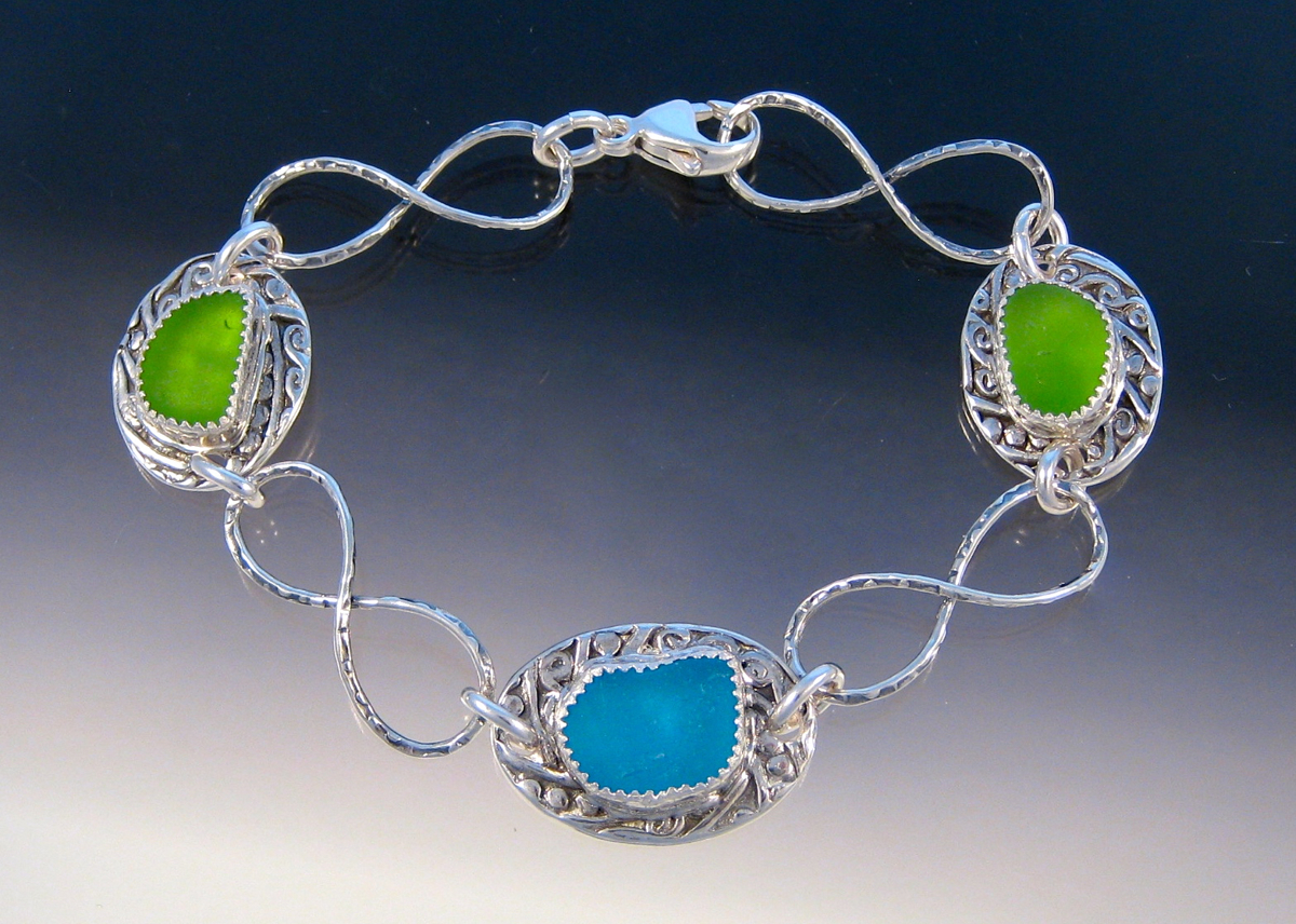 B213 - Turquoise and Lime bracelet (large view)