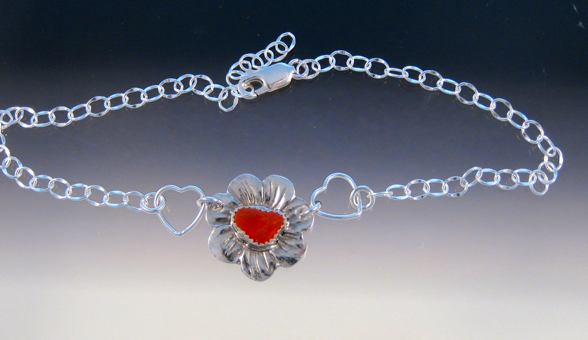 A27 - Orangey/red sea glass flower anklet (large view)
