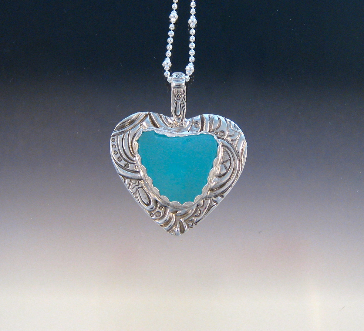 P5343 - Opaque bright baby blue sea glass heart (large view)