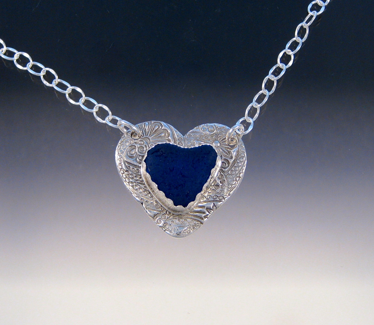 P5433 - Cobalt sea glass heart in heart necklace (large view)