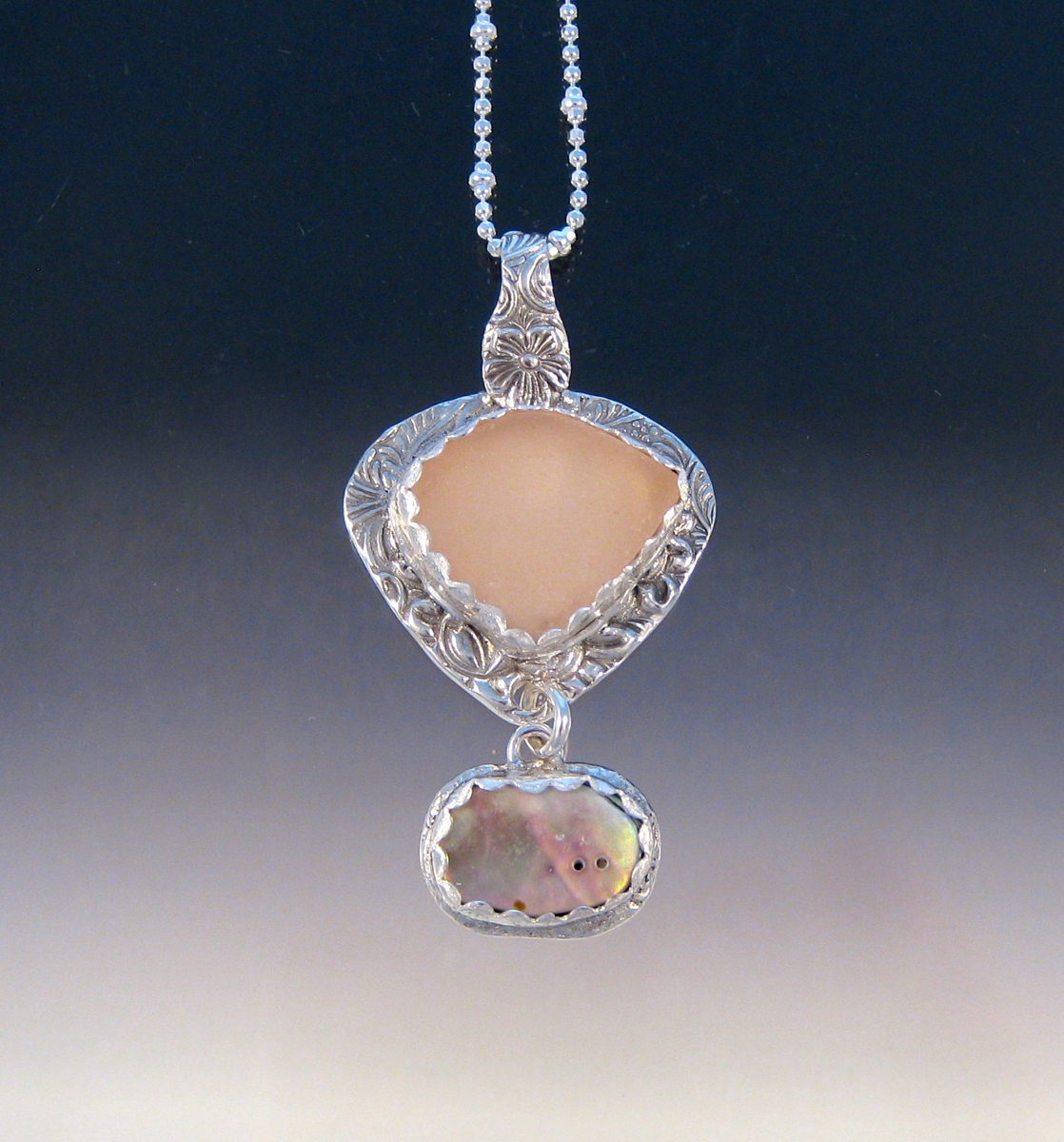 P5497 - Pink sea glass and abalone combo, small (large view)