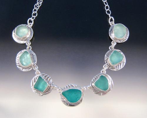 P3607 - 7 piece all aqua sea glass necklace